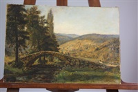 pont dans paysage montagneux by alexis kreyder