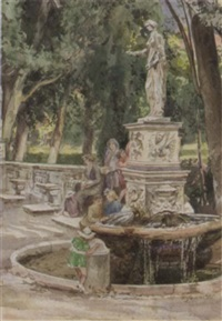 fountain in the park by r. janni