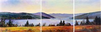 late summer hues (brentwood bay) (triptych) by dorothy mckay