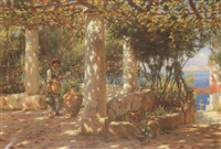 the pergola in autumn, capri by horace fisher