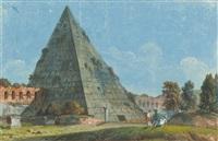 titusbogen und cestiuspyramide in rom (2 works) by carlo labruzzi