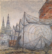 barrage balloon (from the series moscow during the days of victory) by mikhail bobyshev