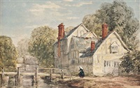 a woman approaching a bridge by a mill and a study of farmworkers (2 works) by david cox the elder