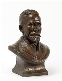 bust of f. wm. taake - st. louis, a distinguished gentleman in formal attire, beard and mustache, signed below on the front by daisy anna taake