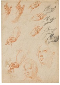 studies of hands and two separate studies of a female head by jacopo (da empoli) chimenti