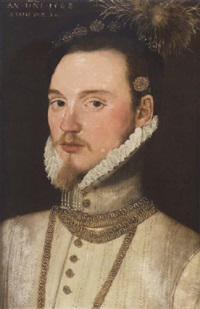 portrait of a gentleman, aged 26, in a white tunic, gold chain necklace, white ruff and black feathered cap by steven van der meulen