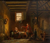interior scene, with fisherman presenting his catch by jacob jacobs