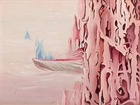 surrealistiskt landskap i rosa by else thoresen