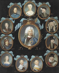 a frame containing twelve oval portraits of members of the swedish royal family within gilt surrounds, coronet and blue ribbon surmounts by niclas lafrensen the elder