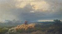 troupeau et son berger près du ruisseau by giuseppe camino