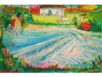 a figure on horseback beside a weir, with a cow and cottage beyond by sven berlin