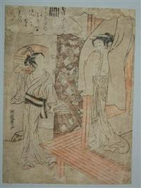 chuban, série du prince genji, deux jeunes filles après le bain by isoda koryusai