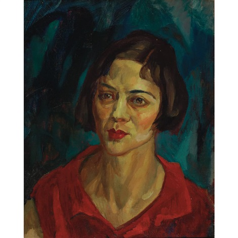 brunette head red waist by john french sloan