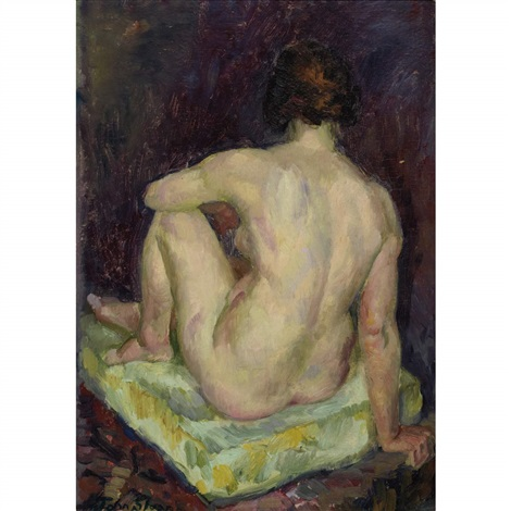 model seated on a pale green pillow by john french sloan