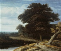 a wooded landscape by anthonie van borssom