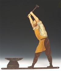 the archer, the blacksmith, woman at spinning wheel and fruit, flowers and teapot (shop signs for cockington village)(set of 4) by edwin henry lutyens