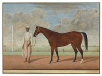 a bay racehorse and groom by muhammad amir