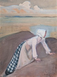 woman on a cliff by magnus enckell