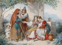 wahrsagerin mit jungen italienerinnen an der küste by johann nepomuk ender