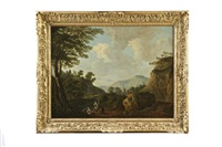 rocky river landscape with figures by george barret