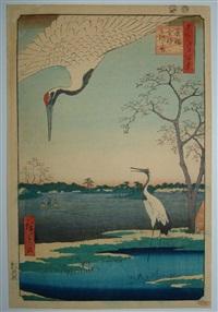 oban tate-e, série des 100 vues d'edo, l'ile de mikawa kanasugi et minowa by ando hiroshige