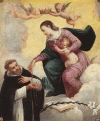 la madonna col bambino porge il rosario a un frate domenicano by italian school-ferrara (17)