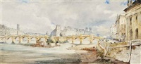view of the ile de la cité and pont neuf, paris by james holland