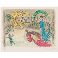 soleil au cheval rouge by marc chagall