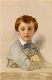 portrait of philippe-grégoire delaroche, son of the artist, half length, leaning on a ledge by paul hippolyte delaroche