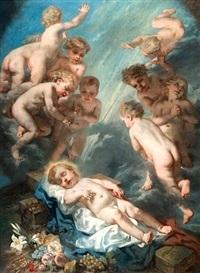 le christ enfant avec les instruments de la passion dans une nuée d'angelots by nicolas françois octave tassaert