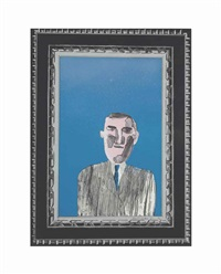 picture of a portrait in a silver frame, 3 by david hockney