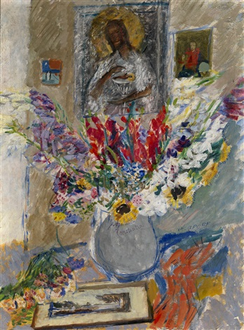still life with flowers and icon by alexis paul arapov