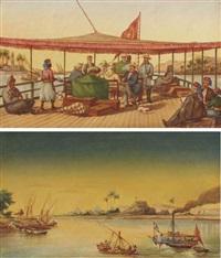 le prince albert de prusse sur un bateau sur le nil, avec des égyptiens fumant le houka (+ les felouques et un bateau à vapeur sur le nil, les pyramides dans le lointain; 2 works) by johannes rabe