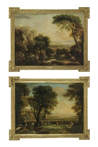 an italianate wooded river landscape with bathers, peasants and ruins (+ an italianate river landscape with travelers, revelers and a waterfall; pair) by george barret