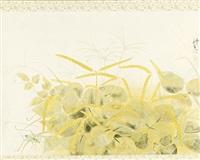 untitled (a grasshopper camouflaged amongst autumnal foliage) by koka yamamura