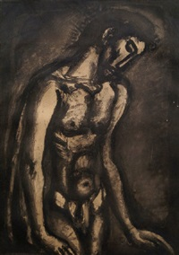 he has been maltreated and oppressed and he has not opened his mouth (isaiah 53: 7), pl.21 (from the miserere) by georges rouault