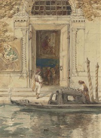 figures disembarking into a palazzo from a gondola, venice by james holland