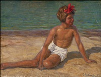 a girl on the beach by sergei vladimirovich oleinikov