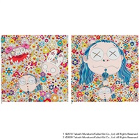 1.kaikai kiki and me - the shocking truth revealed! 2.self portrait of the distressed artist (2 works) by takashi murakami