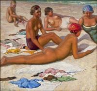 on the beach by sergei vladimirovich oleinikov