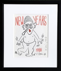 new years invitation 1988 - 2 by keith haring