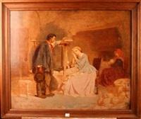 cardeuse dans un intérieur de ferme by théodore valerio
