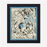 swan engraving blue (from swan engraving series) by frank stella