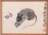 framed 'mouse' painting by qi baishi