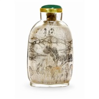 inside painted snuff bottle by zhou le yuan