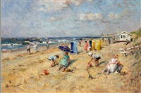 children on a beach by arie van noort