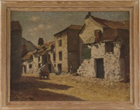 village scene with stone houses and horse drawn cart by lillian amy montague
