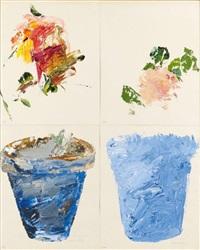 pots de fleurs n°239-240 (4 works) by gérard gasiorowski
