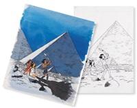 papyrus (+ another, india ink and color; cover for album le talisman de la grande pyramide; 2 works) by lucien de gieter