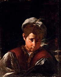 portrait of a boy with a plumed hat by flaminio (dagli ancinelli) torri